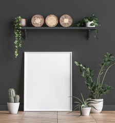 Mock up poster frame near black wall with flowers,3d render