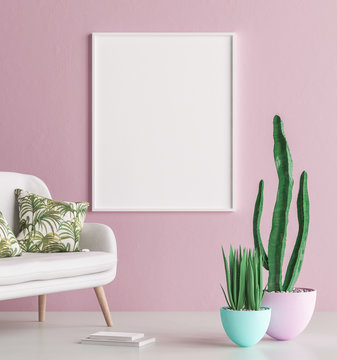 Mock up poster frame interior background with sofa and cactus, 3d render