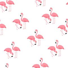 Tuinposter Flamingo Tropical trendy seamless pattern with flamingos and zebra print. Exotic Hawaii art background. Design for fabric and decor. Summer fashion print. Pink flamingo illustration. Animal skin zebra stripes.