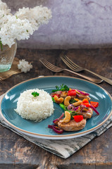 Sichuan pork, broccoli, red pepper and cashew stir-fry with rice