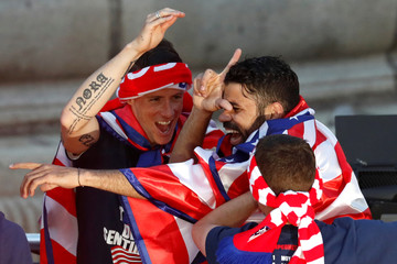 Atletico Madrid Celebrate Winning The Europa League