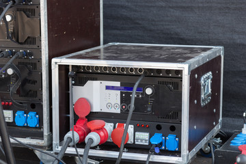 big professional stage amplifier in work on live concert