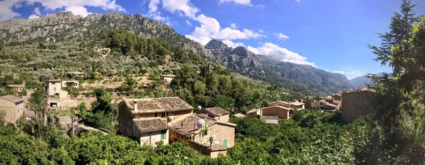 Panorama of Fornalutx rooftops, Mallorca, Spain