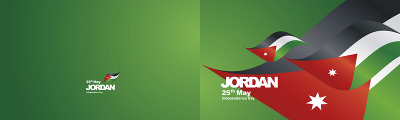 Independence Day Jordan flag ribbon two fold landscape background