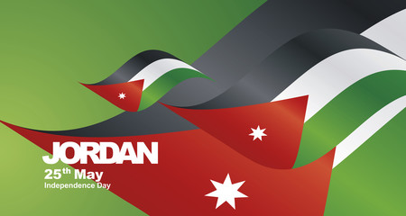 Jordan Independence Day flag ribbon landscape background