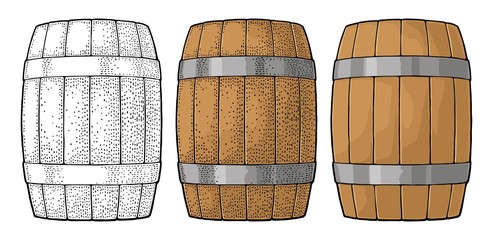 Wooden barrel with metal hoops engraving vector illustration