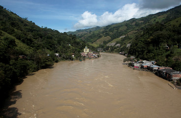 Puerto Valdivia is pictured along the river after the Colombian government ordered the evacuation of residents living along the Cauca river