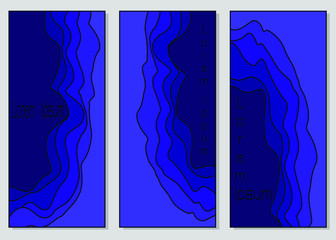Set of banner templates with voluminous abstract wave pattern in bright blue colors. Vector drawing for design of invitations, advertising, business cards, web banner.