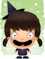 Cartoon Girl Witch Smiling
