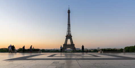 Eiffel tower seen from Trocadero square at sunrise