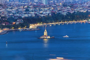 Aerial view of Maiden's Tower in Istanbul on the Bosphorus