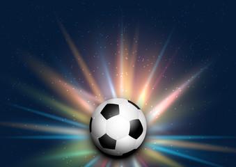 Football / soccer ball on starburst background
