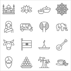 Set of India Symbols line vector icons.