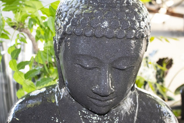 Closeup of wet face of buddha in yard water fountain with blurred plants in background