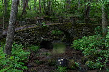 Stone bridge over stream in the Great Smoky Mountains National Park