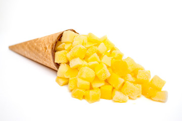 Ice cream made from  frozen berries mango or pineapple. Summer and Sweet Diet Freshness creative menu concept