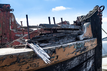 Rotting Wooden Structure of an old cargo  barge