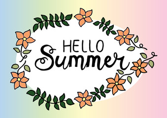 Hello Summer, hand lettering calligraphy.