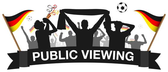 Fussball 2018 Public Viewing Deutschland Fans Silhouette schwarz isoliert
