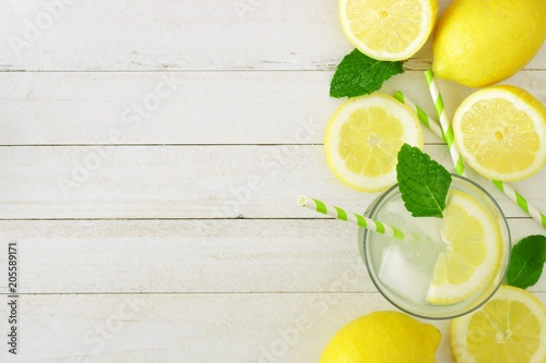 Sweet Summer Lemonade Top View Side Border With Copy Space On A Rustic White Wood
