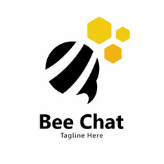 bee Chat Logo Vector Element Symbol Template
