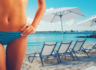 Girl ready to summer with sunglasses in bikini