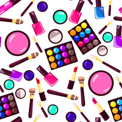 Makeup seamless pattern. Illustrations of different cosmetics.