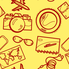 travel hand-drawn icon seamless pattern with sunglasses, hat, camera, passport, headphones, cellphone, notebook, pen, airplane and map on yellow background.