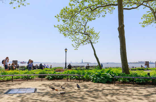 Scenery of Battery park in lower Manhattan, NYC