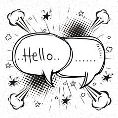 Hello,  text comic  speech bubbles in pop art style
