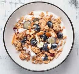 Bowl of granola with yogurt and fresh fruits