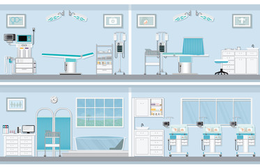 Interior of operating room for birthing of pregnant woman.