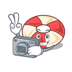 Photographer swim tube mascot cartoon