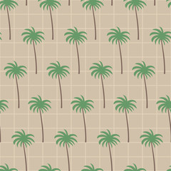 Coconut tree in sand brown square pattern. A playful, modern, and flexible pattern for brand who has cute and fun style. Repeated pattern. Happy, bright, and magical mood.