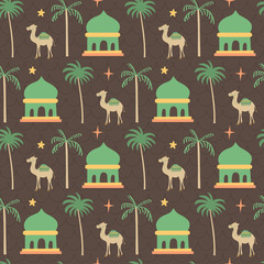 Mosque, camel, middle east ramadhan mubarak pattern. A playful, modern, and flexible pattern for brand who has cute and fun style. Repeated pattern. Happy, bright, and magical mood.