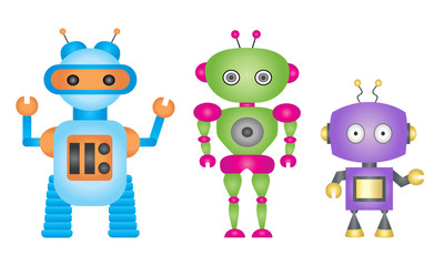 Cartoon robot vector set