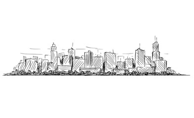 Vector artistic sketchy pen and ink drawing illustration or sketch of generic city high rise cityscape landscape with skyscraper buildings.