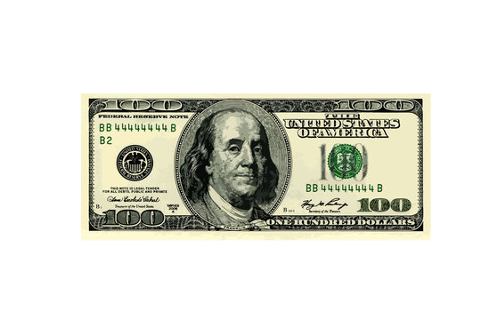 hundred dollar bill. vector illustration