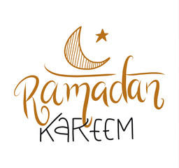 Hand drawn vector lettering holiday Ramadan Kareem isolated on white background.