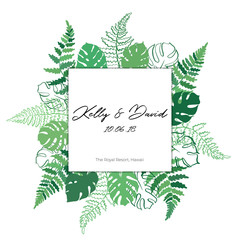 Vector card template with fern and monstera