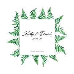Vector card template with fern leaf