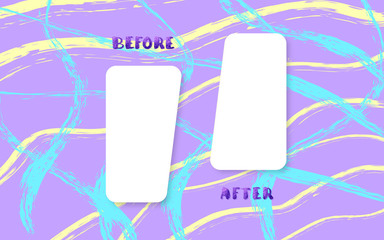 Before and After card. Vector illustration.