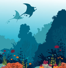 Coral reef, fish, mantas and underwater sea.