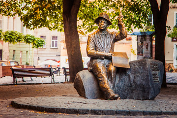 Monument to painter Nykyfor  Epifaniy Drovnyak in Lviv, Ukraine