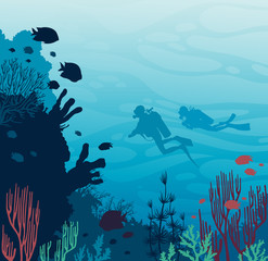 Scuba divers, coral reef, fish and underwater sea.