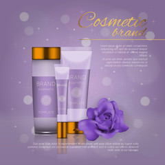 Vector 3D cosmetic illustration with rose and bokeh background. Beauty realistic cosmetic product design template.