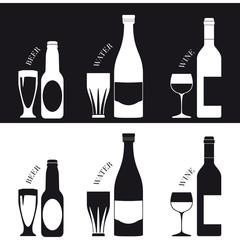 Bottiglia e bicchiere di birra, acqua e vino