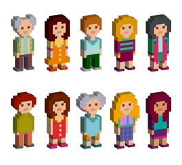 Pixel art style cartoon isometric characters. Men and women are standing on white background. Vector illustration.