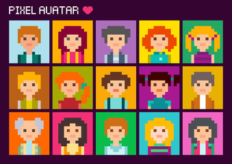 Collection of cute square avatars in pixel style. Male and female character.