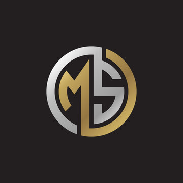 Initial letter MS, looping line, circle shape logo, silver gold color on black background